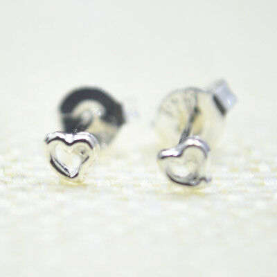 Shiny Solid 925 Sterling Silver Cute Small Tiny Love Heart Stud Earrings Gift