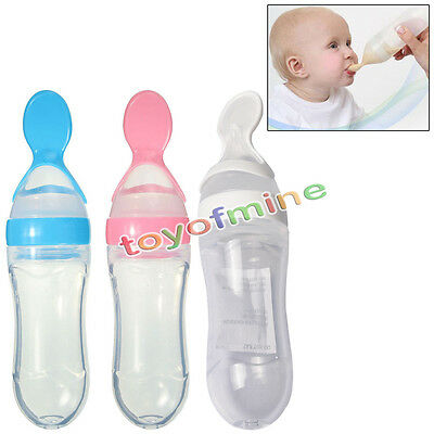 Baby Infant Food Dispensing Feeding Bottle Spoon Silicone Squeeze Feeder Safe