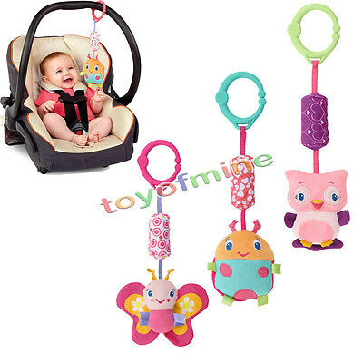 Baby Kids Soft Animal Handbell Stroller Bell Car Pram Toy Activity Developmental