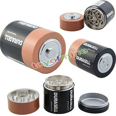 3 Layer Creative Battery Tobacco Grinder Herb Spice Hand Crusher Muller Mill NEW