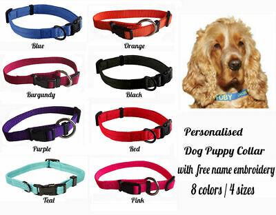 Personalised Custom Embroidered Dog Puppy Collar Plain ColorFree Name Embroidery