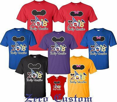 FAMILY VACATION Disney my trip 2018 T-shirts All Sizes Minnie, Mickey ears new