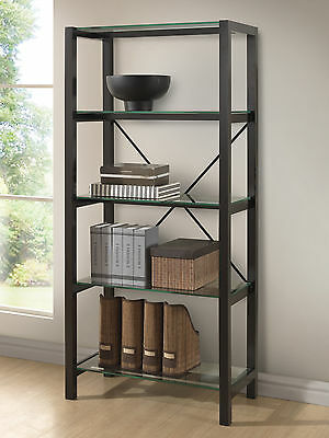 Display Shelf :: Modern BROWN WENGE Bookcase Bookshelf w/ TEMPERED GLASS SHELVES