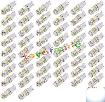 50X T10 White 28 SMD LED 147 168 194 W5W Wedge Light Bulb Lamp DC 12V for Car