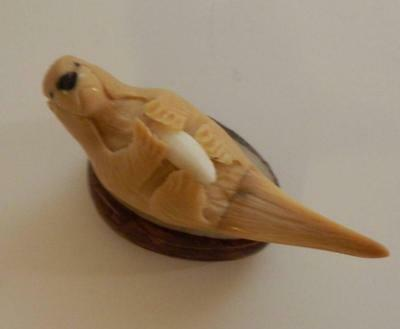 Ecuador Tagua Nut Sea Otter Vegetable Ivory Carving Figurine Fair Trade