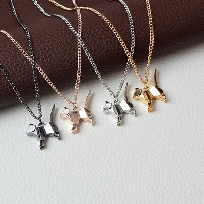Origami Cat Kitty Dog Silhouette Pendant Necklace For Women Men Rose Gold Sil...