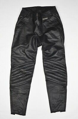 Vintage Dainese Lederhosen Schwarz Gr 48 Leather Pants Black Motorcycle Italy