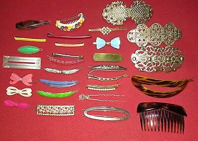 29 Vintage Metal Plastic Hair Barrettes Pins Clips Comb Bows Flowers Gems Lots