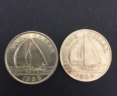 (2) Bermuda $1 Coins 1988- Circulated