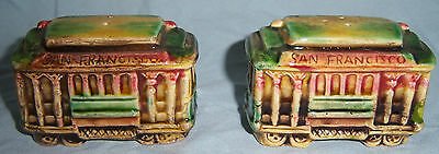 Vintage EFCCO San Francisco Trolley Cable Car Salt & Pepper Shakers
