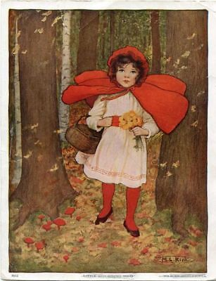 Fairy Tale Postcard: Vintage repro Wolf M Tarrant Little Red Riding Hood