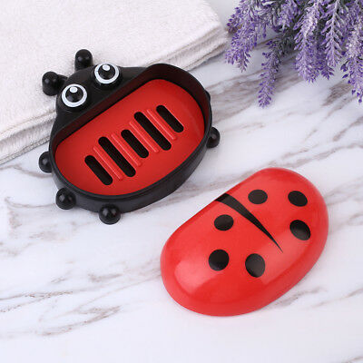 Ladybug Soap Storage Box Holder W/Cover Leak-proof Home Bathroom Access