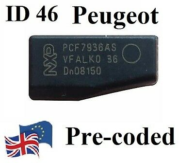 NEW Transponder ID46 T14 pcf7936 Key Chip Peugeot Citroen pre-coded