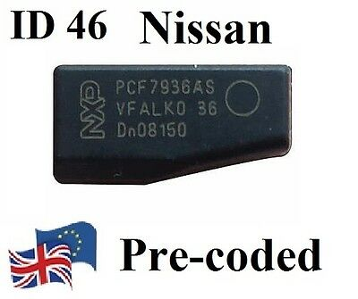 NEW Transponder ID46 T14 pcf7936 Key Chip Nissan pre-coded