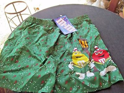 M&M candy mens BOXER SHORTS green  NWT SZ small SILK carolers yellow & red notes