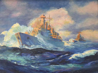 Vintage Original Ww2 Wwii Naval Battleship Military Art Illustration Painting