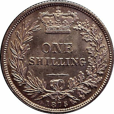 1875 Shilling English Silver Coin From Victoria Die No 65 (1837-1901)