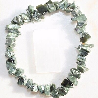 RARE Russian Premium CHARGED Seraphinite Crystal Chip Stretchy Bracelet REIKI!