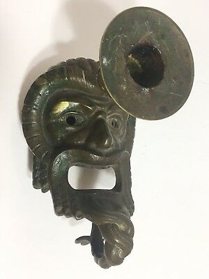 Antique Face Candleholder Asian/European? Heavy Metal Could Be Bronze Heavy Bras