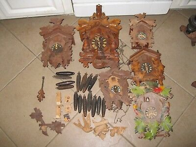 Antique/Vintage Cookoo Clock Collection, for parts or restoration