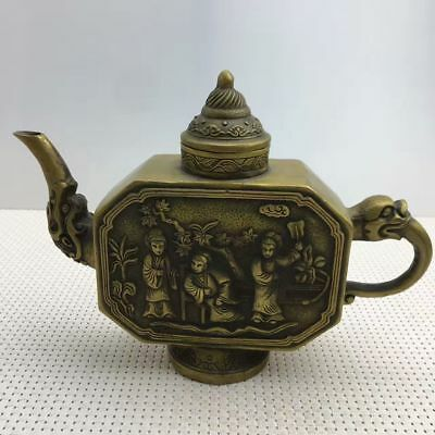 Exquisite China Handmade Copper Dragon Handle Carved Character Teapot