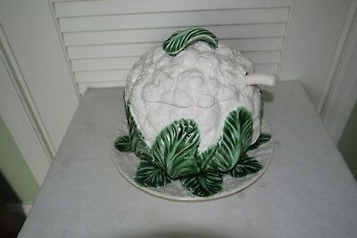Majolica-Style Cauliflower Tureen With Lid, Underplate, & Ladle