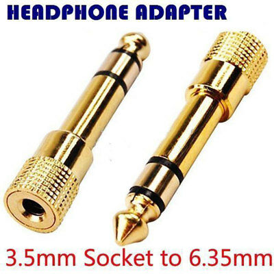 3.5mm Socket to 6.35mm Jack Plug Audio Converter Adapter GOLD PLATED New