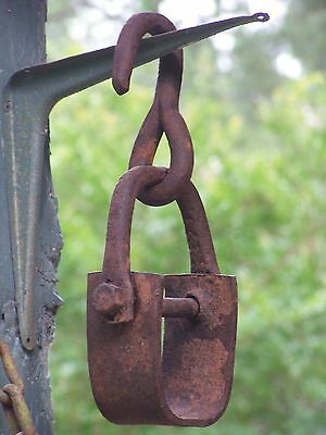 Primitive Large Hammered Iron Pulley Hook+Coupling Hanger Steampunk Barn Find