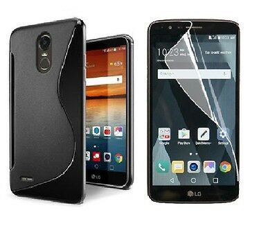 Black S-Line Tpu Case+ Clear Screen Protector For Lg Stylo 3 Plus