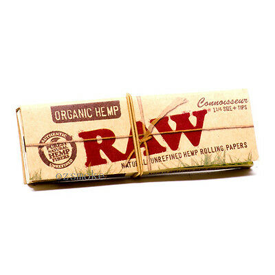 Raw Organic Hemp 1 1/4 Rolling Papers Smoking Cigarette Tobacco+Tips