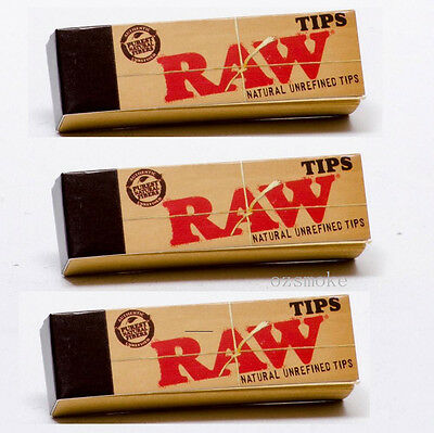 Authentic Raw Natural Rolling Paper Filter Tip Smoking Tobacco 50 Tips (3 pk)