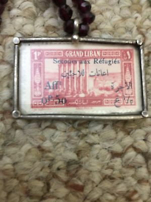 Very rare Stamp ,,from grand liban  enclosed inside silver cover , hand made