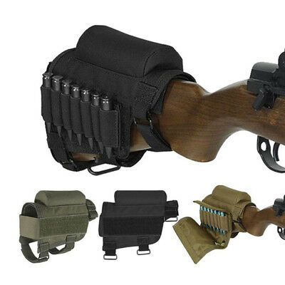 Tactical Rifle Buttstock Cheek Rest Ammo Carrier Case Holder Pouch for .300 .308