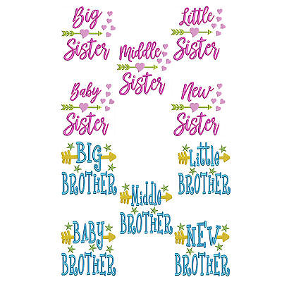 Sisters and Brothers * Machine Embroidery Patterns * 10 Designs, 4 sizes