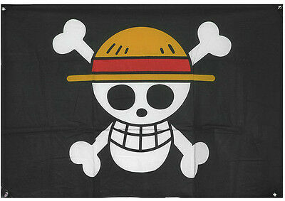 Large! Luffy Straw Hat Skeleton Skull One Piece Pirate Flag Anime Cosplay