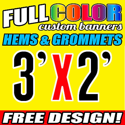 "3X2' FT Custom Banner 13oz Vinyl Outdoor Personalize Signs Advertise 36"" x 24"""