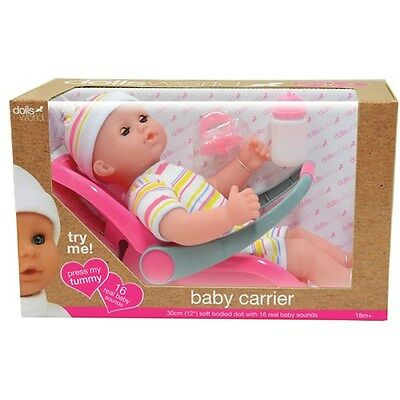 Dolls World Baby Travel Set comes with soft bodied doll with Real Baby Sounds