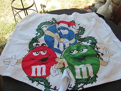 M&M candy mens BOXER SHORTS white flannel CHRISTMAS BLUE RED GREEN CHARACTERS L
