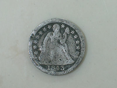 1843 Key Date Very Low Mintage Liberty Seated Dime G / G+ Details Rev Damage