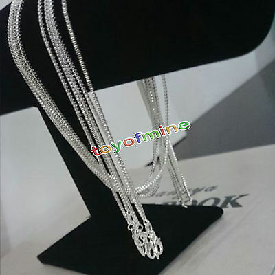 Fashion Women 925 Sterling Silver 1.4MM Long Pendant Box Chain Necklace Jewelry
