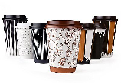 Hornbit Disposable Coffee Cups with Lids and Coffee Stirrers Set of 50 - 12 oz -