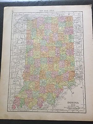 Vintage Color Map - 11.5 x 14 - of  Indiana & Ohio