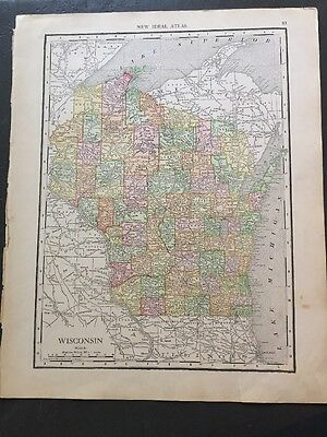 Vintage Color Map - 11.5 x 14 - of Wisconsin & Minnesota