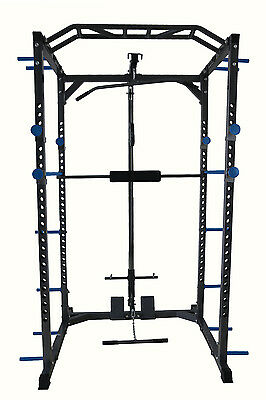 Power Rack Squat Cage Machine Cable Pulley Pull Up Bar Band Pegs Home Gym