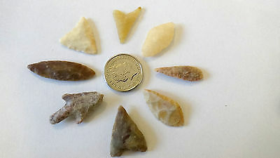 8 x NEOLITHIC FLINT ARROW HEADS...pre historic stone tools  FREE POSTAGE!