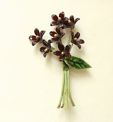 Antique Millinery Flower Corsage, Brown OLD Plastic Celluloid Vintage Supply