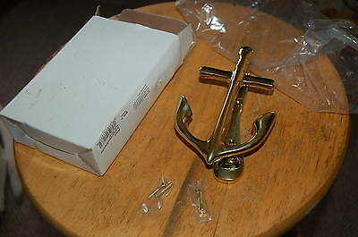 "Vintage SOLID BRASS Nautical anchor DOOR KNOCKER 5.5"" HEAVY"