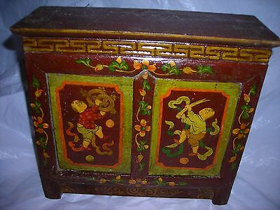 Old,Asian Cabinet,small table top,Tibetan altar?,/ hand decorated,UNIQUE