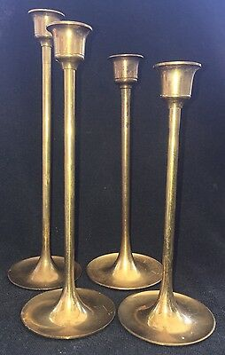 Vintage Set Of 4 Solid Brass Candlestick Holders