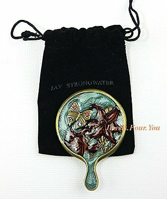 Jay Strongwater Purse Mini Finger Mirror, Brand New With Pouch, Antique Finish.